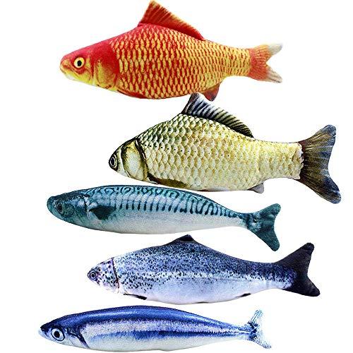 5pcs Juguetes con Hierba gatera,20CM Juguetes del Catnip, Forma de pez,Interactiva Mascota,Forma de pez para Gatos, Masticar Gatos, Almohada.