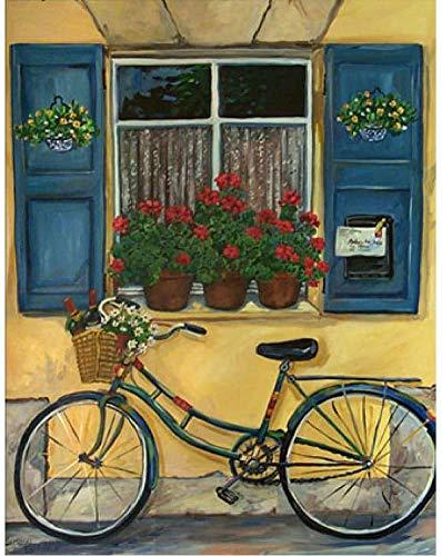 Schilderen op nummer voor volwassenen en kinderen Diy Olieverfschilderij Cadeausets Voorgedrukt canvas Art Woondecoratie, Vensterbank en fiets, 40X50Cm, KPL-5550