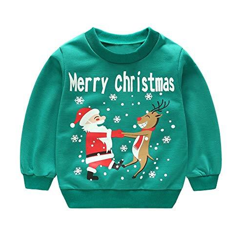 Sweat bébé, YUYOUG Chandail de bébé de Noël Parent-Enfant Tenues Joyeux Noël pour Bébé Sweat-Shirts garçons Filles Coton Tops (3-4 Ans, Green 2)