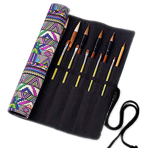 of paint brush cases LaVenty Boho Roll Up Paint Brush Holder Painting Organization and Storage Artist Canvas Roll Pouch Bag Makeup Brushes Case Organizer Without Brushes