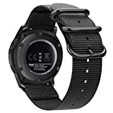 Fintie Bands Compatible with Samsung Galaxy Watch 3 45mm / Galaxy Watch 46mm / Gear S3 Classic/Frontier , Soft Woven Nylon Band 22mm Quick Release Adjustable Replacement Sport Strap (Black)