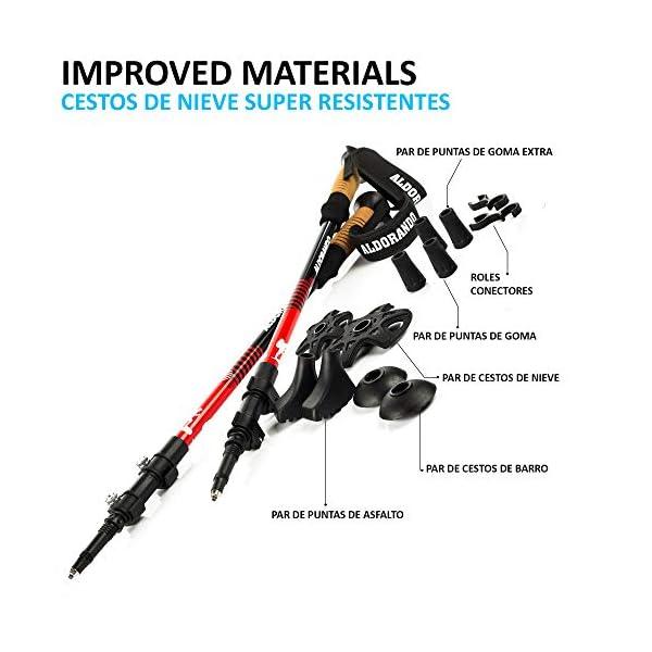 ALDORANDO Bastones de Senderismo telescopicos - Par Bastones Trekking Plegables Resistente y Ligero de Aluminio 7075… 1
