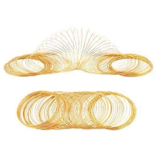 PandaHall 100 Loop Golden Schmuck Schmuck Speicher Perlen Draht Speicher Stahl Draht Manschette Armreif Armband Für Kunst Armband Halskette Schmuckherstellung (24 Gauge, 2.4