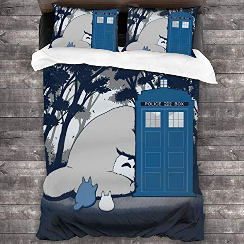 KUKHKU Totoro Doctor Who Mix Curious Spirits 3 Pieces Bedding Set Duvet Cover 86'x70', Decorative 3 Piece Bedding Set With 2 Pillow Shams