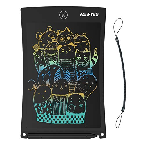 NEWYES 8.5 Inches Colorful Doodle Board Kids Toys LCD Screen Writing Tablet with Lock Function Magnetic Drawing Board Erasable Doodles Notepad Gifts for Ages 3+ Black with Lanyard