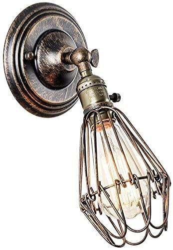 Applique Vintage Applique Industrial Lampada da parete Gabbia di Ferro in Bronzo Metallico Lampade Rustiche E27 per Bar Caffè Hotel Ristorante Loft e Cucina