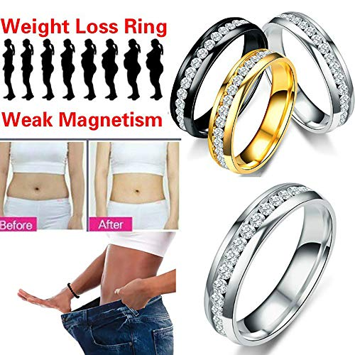 LONG-X Anillo De Adelgazamiento Magnético para Pérdida De Peso, Anillo De Acupuntura Estimulante para Adelgazar, Anillo para Reducir Peso, Anillos para El Cuidado De La Salud,Plata,21MM