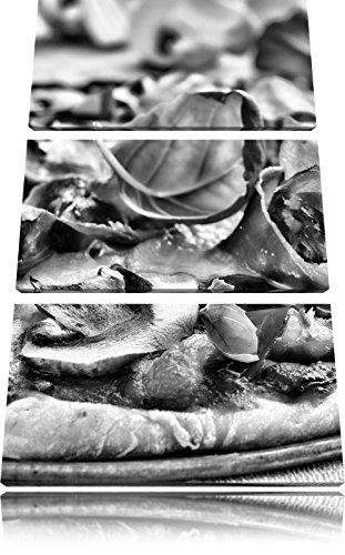 Monocrome, Pizza mit Schinken, Pilzen und Basilikum 3-Teiler Leinwandbild 120x80 Bild auf Leinwand