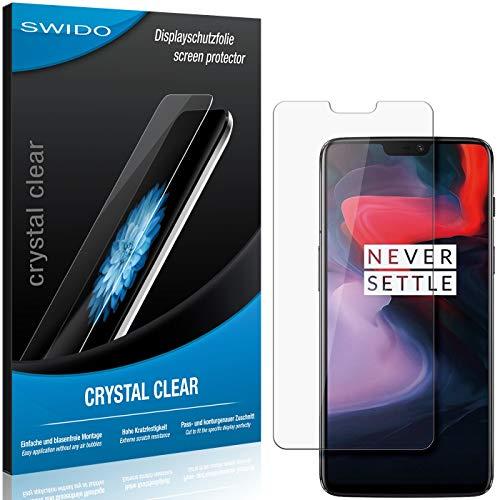 SWIDO Schutzfolie für OnePlus 6 [2 Stück] Kristall-Klar, Hoher Festigkeitgrad, Schutz vor Öl, Staub & Kratzer/Glasfolie, Bildschirmschutz, Bildschirmschutzfolie, Panzerglas-Folie