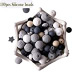 let's make Baby Silikon Beißring Perlen 100pcs BPA Frei Essen Grade Zahnen Schwarz Weiß Serie DIY Schmuck Kaubare Pflege Halskette Zubehör