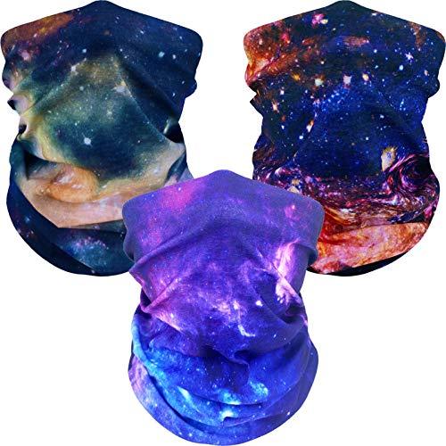 3 Pcs Cooling Neck Gaiter Bandana Face Gaiter Face Cover Balaclava Scarf Wrap (Galaxy Style)