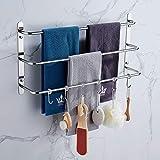 Toallero, 3 capas Stagger Toallero con 6 ganchos movibles, barra de toalla de acero inoxidable para cocina, baño, baño, baño, hotel, oficina