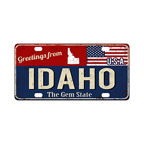 """InterestPrint Greetings from Idaho Rusty Metal Sign with American Flag Car Decor Metal License Tag Plate for Woman Man - 12"""" x 6"""""""