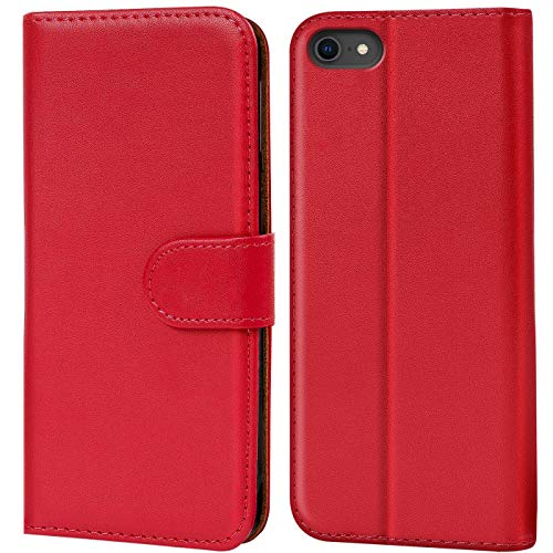 Verco iPhone 8 Hülle, Handyhülle für Apple iPhone 7, iPhone SE 2 (2020) Tasche PU Leder Flip Hülle Brieftasche - Rot