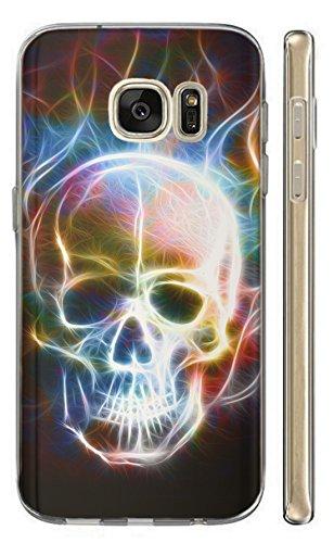 Hülle für Samsung Galaxy S7 G930F Softcase TPU Hülle Samsung S7 Cover Backkover Schutzhülle Slim Hülle (1361 Totenkopf Skull Abstract in Flammen)