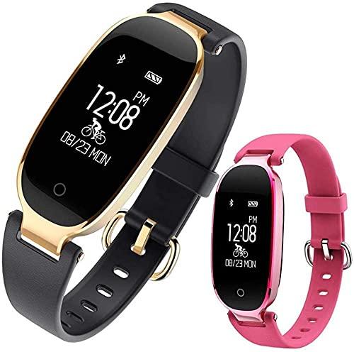 Pulsera inteligente reloj inteligente de moda deporte Bluetooth pulsera inteligente teléfono reloj inteligente monitor de ritmo cardíaco reloj inteligente para mujeres niña negro negro oro negro