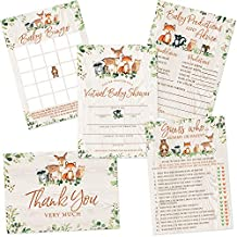Virtual Baby Shower by Mail, Woodland Forest Animals, Set of 5 Double-Sided Invitations, Games, Activities and Thank You Cards