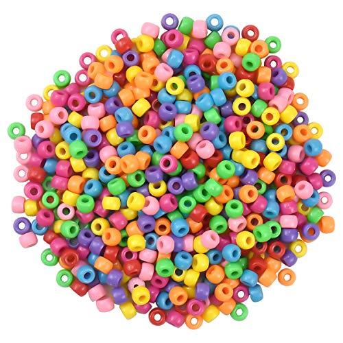 Fodlon 1800 Stück Bunte Beads Perlen, 6X9mm Kunststoff Bastelperlen, Acryl Lose Perlen, Perlen zum Auffädeln, Barrel Perlen für DIY Handwerk Basteln und Halsketten Armbänder Schmuck Herstellung