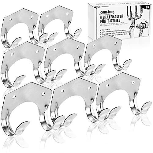 com-four® 8X Porte-Outils en tôle d'acier de 1 mm - Support Mural pour Outils de Jardin avec poignée en T (Support - 08 pièces)