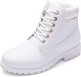 DADAWEN Women's Lace Up Low Heel Work Combat Boots Waterproof Ankle Bootie