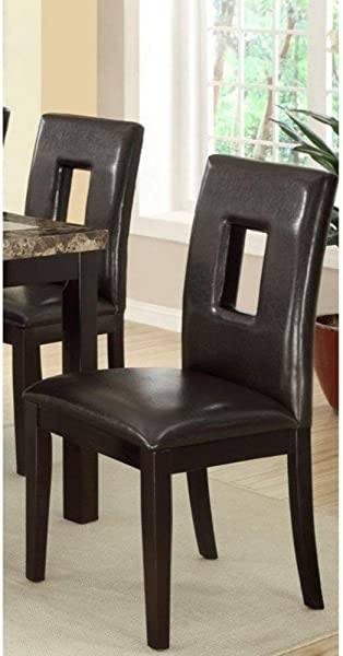 Poundex PDEX F1051 Contemporary Dining Chair With Espresso Pine Wood Set Of 2 Brown