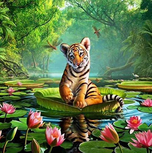 FSMYQH DIY 5D Diamond Painting Kits, Diamond Painting Kits for Adults Kids Crystal Diamond Embroidery Paintings Arts Craft for Home Wall Decor,Tiger by The River 12x16 inch Frameless