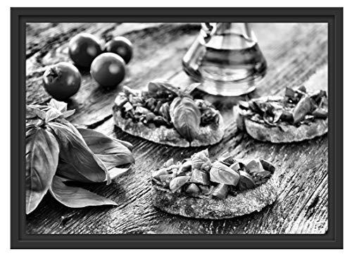 Picati Italiaanse Bruschetta in schaduwvoeg fotolijst | kunstdruk op hoogwaardig galeriekarton | hoogwaardige canvasfoto alternatief 55x40