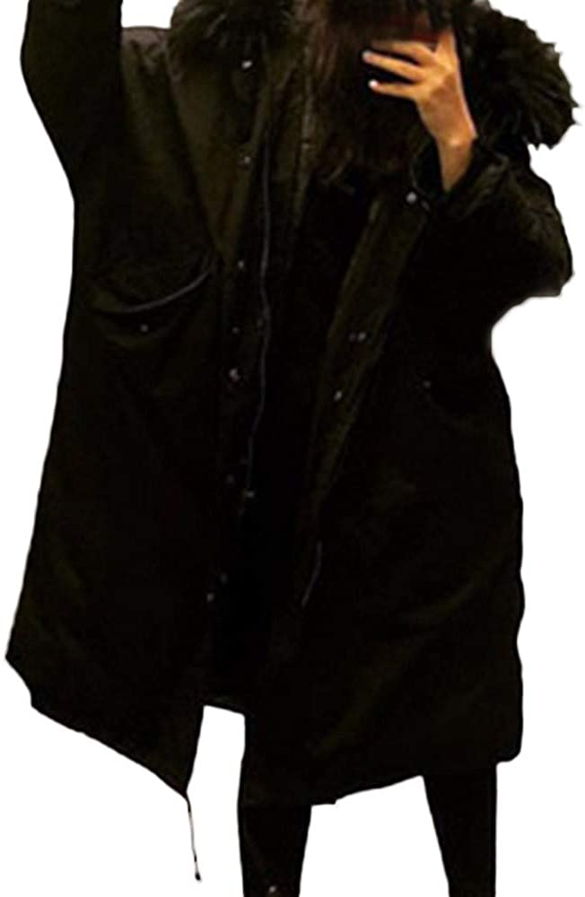 Women Faux Fur Hooded Thicken Coat Long Cotton-Padded Jackets Pocket Coats Outerwear