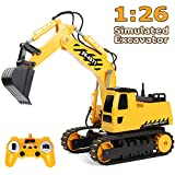 RACPNEL Remote Control Excavator Toys 1/26 RC Excavator, 2.4GHz Fully Functional Construction Vehicles Toys Truck with Rechargeable Battery, Birthday Gift for Boys and Girls, Kids