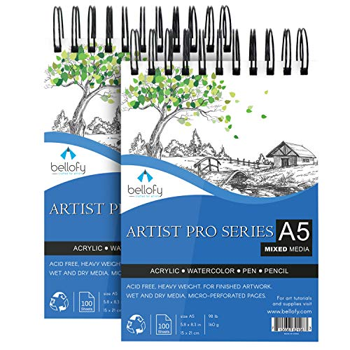 Bellofy 200 Sheet Sketchbook Mixed Media 5.8 x 8.3 in Sketch Pad for Drawing - Drawing Notebook with Acrylic Paper for Wet & Dry Media - Multimedia Sketchbook for Pencils, Watercolor, Acrylic Painting
