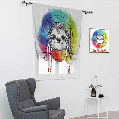 """GugeABC Cortinas cortas de humor, diseño de arcoíris con texto en inglés """"Happy Smiling"""", diseño de perezoso de dibujos animados, para el hogar, multicolor, 121,9 x 162,6 cm"""