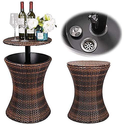 DODOBD Mesa Nevera para jardín, Color Marróncubiteras para Hielo cubitera hielera Cubitos de Acero Inoxidable Grande Pinzas con Tapa Enfriador Vino Botellas Luces Cerveza