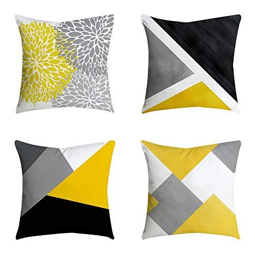 Modernos Geométricas Fundas Cojines 45X45, Funda de almohada Cuadrada Funda de cojín de lino Decorativa Sofa Jardin Cama (4PC/SET)