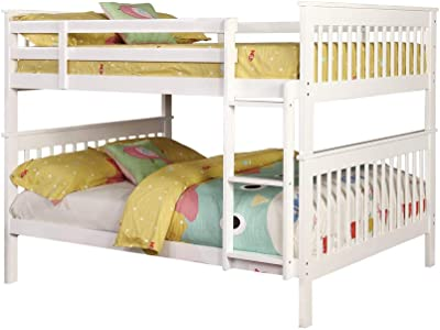Benjara Mission Style Full Bunk Bed with Attached Ladder, White