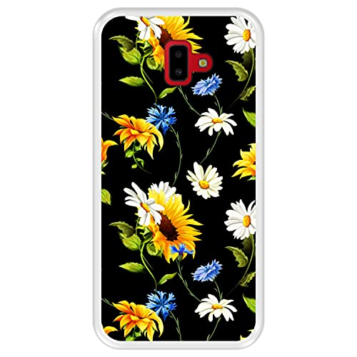 Hapdey Funda Transparente para [ Samsung Galaxy J6 Plus 2018 ] diseño [ Patrón Floral, Flores Multicolores 2 ] Carcasa Silicona Flexible TPU