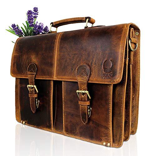 Aktetas echt leder I business-tas leder vintage look I schoudertas & schoudertas I luxe zakentas + laptoptas (tot 15,6 inch) voor dames en heren I bruin I CD09A Corno D'oro