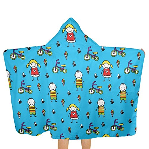 qisile Toalla de bano Beach Towel with Cap is Soft in Material,Summer Boys and Girls,Good in Water Absorption,Fast Drying,Light and Easy to Carry