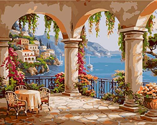 Pintar por Numeros para DIY pintura al óleo Bricolaje Lienzo Pinceles y...