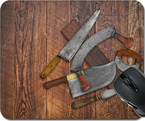 MSD Mousepad Mousepad Mousepad Design 30203137 Vintage Küchenmesser und Schärfwerkzeug Collage über alten Holztisch Platz für Ihren Text