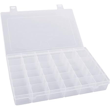 Pixnor Caja organizadora portátil de 36 compartimentos, de plástico duro, transparente, ajustable, con separadores extraíbles
