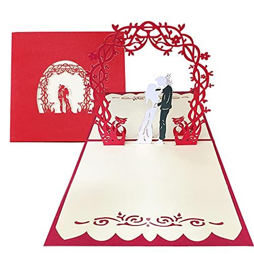 Biglietto di Matrimonio Pop Up Coppia di Sposi Biglietto 3D Speciale per Il Matrimonio, Biglietto di Auguri per il Matrimonio 15 * 15 cm