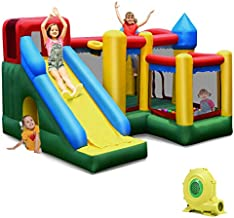 BOUNTECH Inflatable Bounce House, 6 in 1 Castle Jumping Bouncer w/ 750W Air Blower, Long Slide, Jump Area, Climbing Wall, Basketball Rim, Tunnel, Kids Bouncy House for Indoor Outdoor Backyard