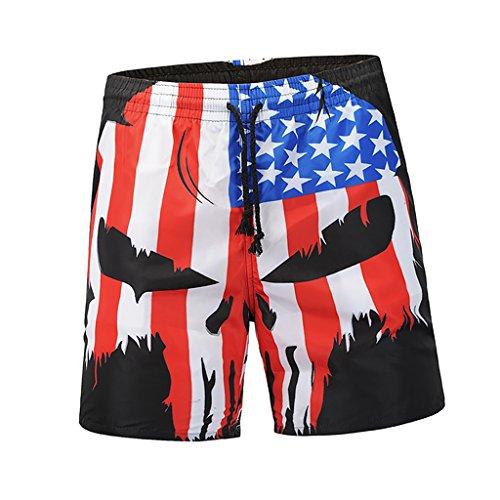 IPOTCH Hombres American Flag Workout Sports Tabla De Surf Shorts Quick Dry Swim Trunks - Multicolor, 2XL