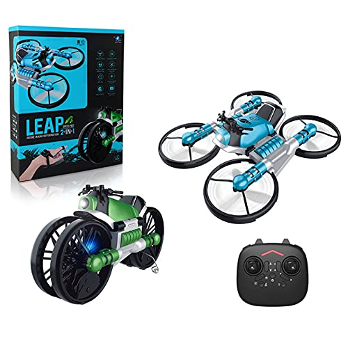 Shumu 2 in 1 Folding RC Drone and Motorcycle Vehicle Rechargeable Motor Bike Toy with Built-in Camera Dual Uses Gift for Kids