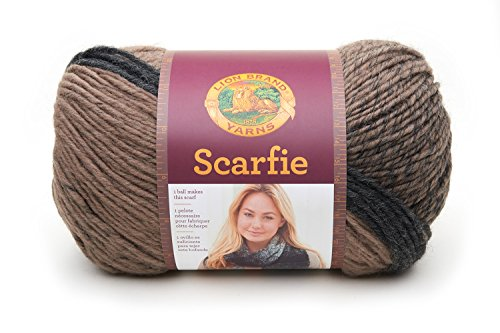 Lion Brand Yarn 826-200 Scarfie Yarn, One Size, Taupe/Charcoal