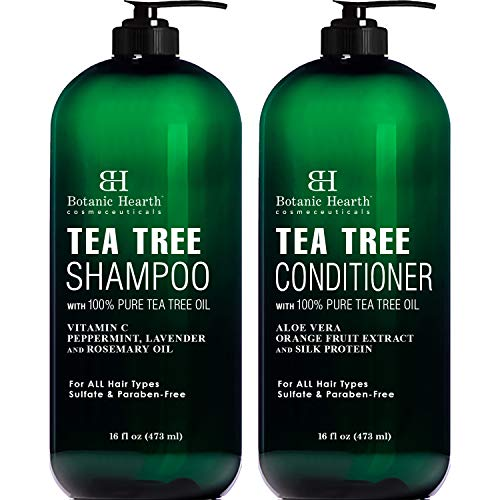 Botanic Hearth Tea Tree Shampoo and Conditioner Set - with 100% Pure Tea Tree Oil, for Itchy and Dry Scalp, Sulfate Free, Paraben Free - for Men and Women - (Packaging May Vary) - 16 fl oz each