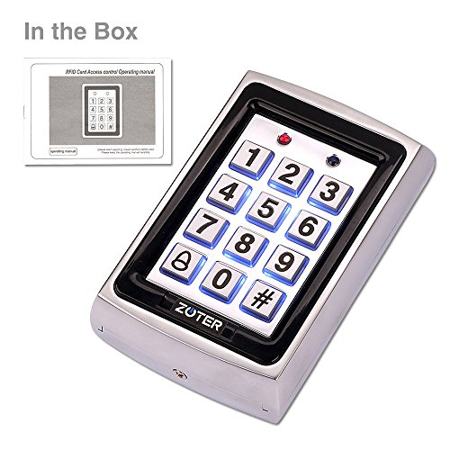 ZOTER Metal RFID ID Card 125KHz Password Code Non-Contact Proximity Access Control Controller Stand Alone Vandalproof Back Light Keypad Reader for Home Office House (Silver)