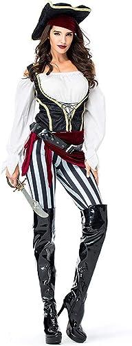 GIFT ZHIZHUXIA Erwachsene damen Pirate Wench Charming Kostüm Halloween Cosplay Kostüm mit Hut, Haarband, Gürtel Weißnachtsfeier Kleid Requisiten (Farbe   Photo Farbe, Größe   One Größe)