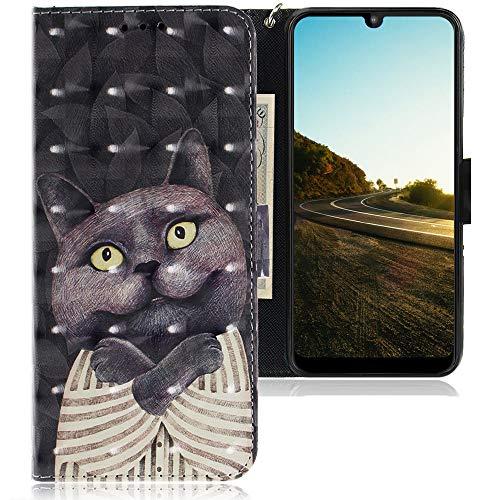 CLM-Tech Hülle kompatibel mit Motorola Moto E6 Plus - Tasche aus Kunstleder - Klapphülle mit Ständer & Kartenfächern, Katze Schlafanzug schwarz
