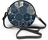 BAODANLA Bolso redondo mujer Abstract Geometry Pattern and Bee Women Soft Leather Round Shoulder Bag Zipper Circle Purses Sling Bag